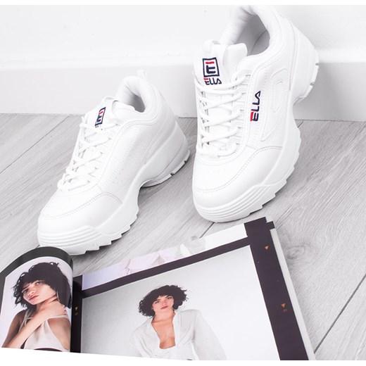 Buty sportowe damskie białe sznurowane bez wzorów Buty
