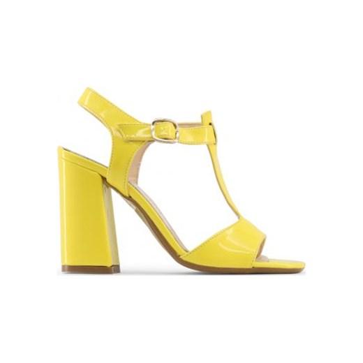 Sandały damskie żółte na wysokim obcasie eleganckie z klamrą bez wzorów Buty Damskie VU żółty Sandały damskie IGAD