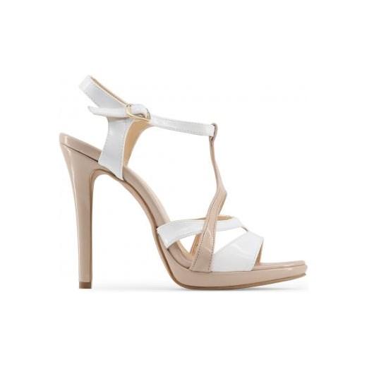 Sandały damskie białe na wysokim obcasie z klamrą Buty Damskie BO biały Sandały damskie FGVW