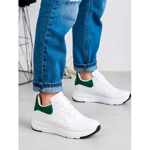 Buty sportowe damskie CzasNaButy sneakersy sznurowane casualowe płaskie bez wzorów