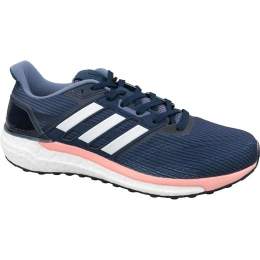 Buty sportowe damskie Adidas do biegania granatowe wiązane płaskie