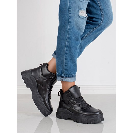 Sneakersy damskie CzasNaButy sportowe bez wzorów sznurowane na platformie