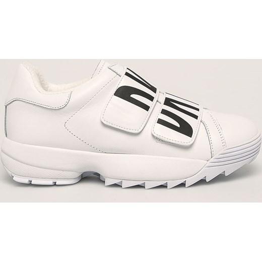 Sneakersy skórzane z zapięciem na rzepy DKNY Sneakersy