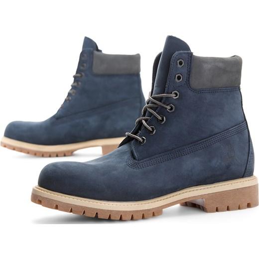 Buty zimowe męskie Timberland niebieskie sznurowane z nubuku
