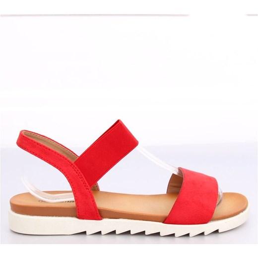 Czerwone sandały damskie Buty Butymodne