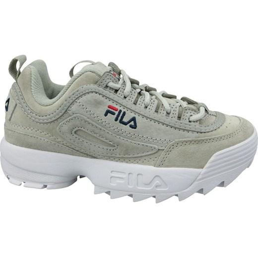 Sneakersy damskie Fila wiosenne skórzane młodzieżowe na platformie gładkie sznurowane