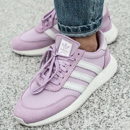 Buty sportowe damskie Adidas dla biegaczy płaskie gładkie sznurowane skórzane