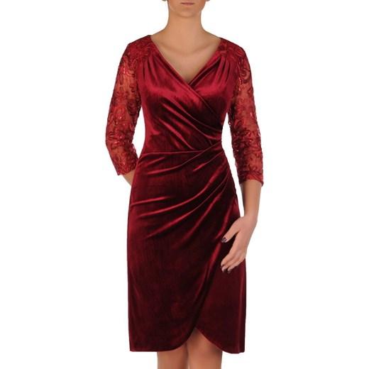 Sukienka Modbis z dekoltem w literę v elegancka czerwona na sylwestra
