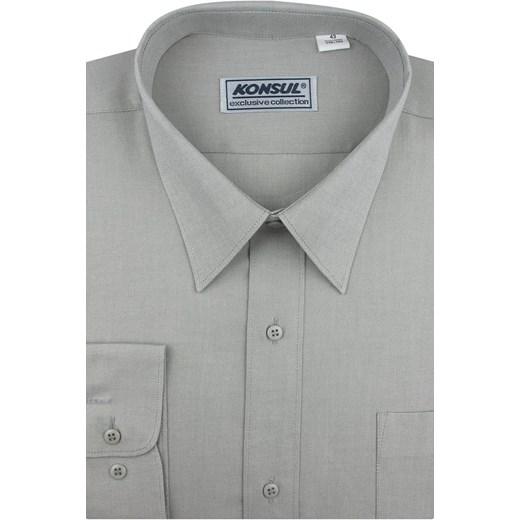 Koszula męska Konsul szara tkaninowa z długimi rękawami w Domodi  W98GL