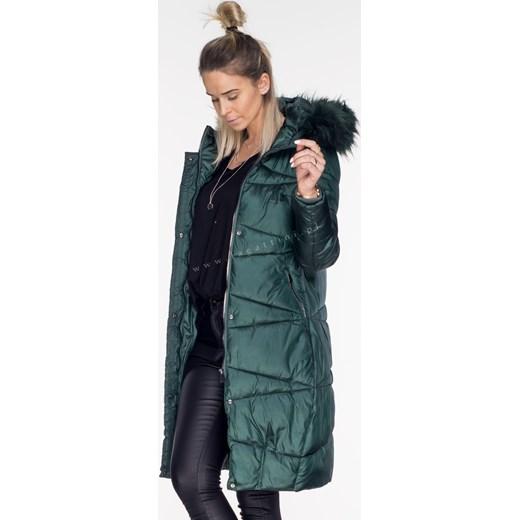długa kurtka zimowa z kapturem butelkowa zieleń
