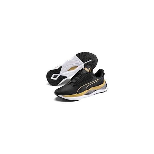 Buty sportowe damskie Puma dla biegaczy czarne z gumy gładkie sznurowane klasyczne płaskie