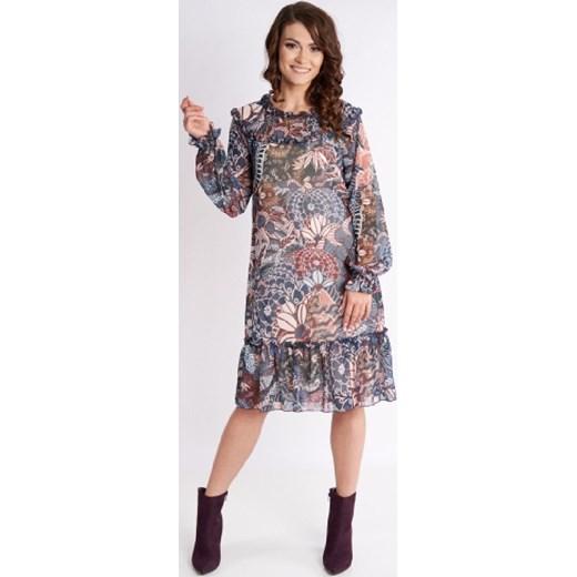 Sukienka Metafora z długim rękawem midi