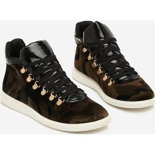 Buty sportowe damskie Born2be sneakersy militarne płaskie w