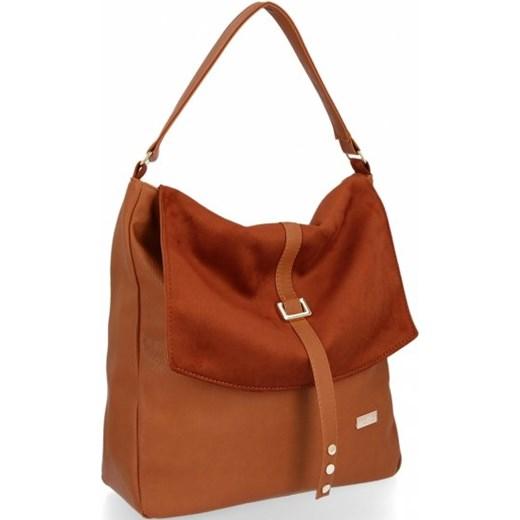Shopper bag Conci brązowa z zamszu duża