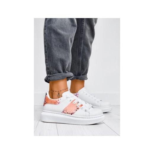Białe sneakersy z motywem węża Bad Day Blue