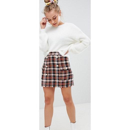 Sinsay Dwurzędowa spódnica w kratę Brązowy Ceny i
