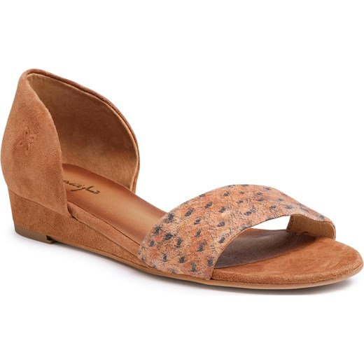 Sandały damskie płaskie brązowe w zwierzęce wzory bez