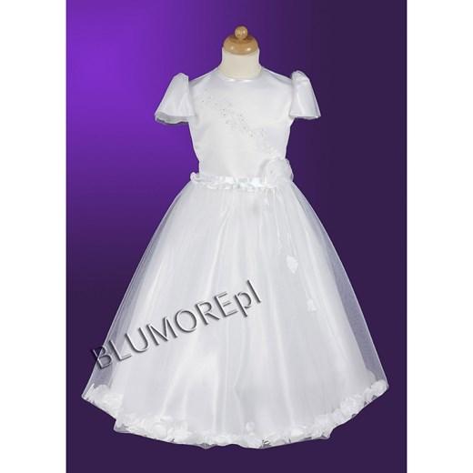 320eb5b3 Biała sukienka pokomunijna dla księżniczki 128 - 146 Milan 4 blumore-pl  bialy atłasowy