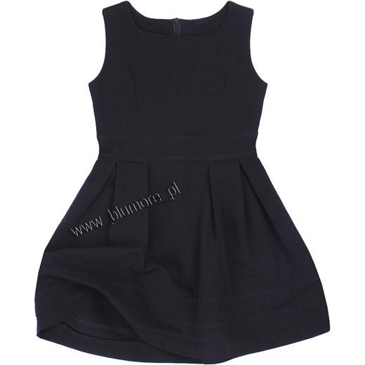 255ac76397 Czarna sukienka wizytowa dla dziewczynki 110 - 152 Wiki blumore-pl czarny  bawełniane ...
