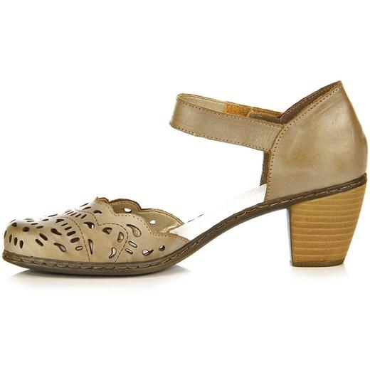 RIEKER 40966 62 skórzane beżowe sandały damskie ażurowe