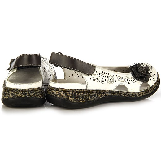 RIEKER 46337 80 skórzane białe sandały damskie ażurowe