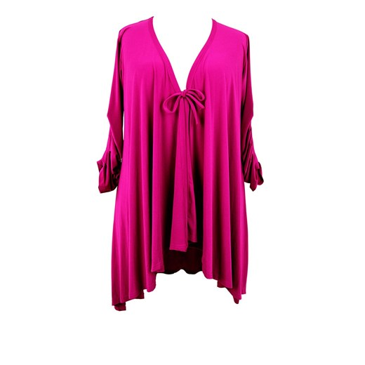 Długa amarantowa wiązana narzutka modne-duze-rozmiary rozowy casual fT5sK
