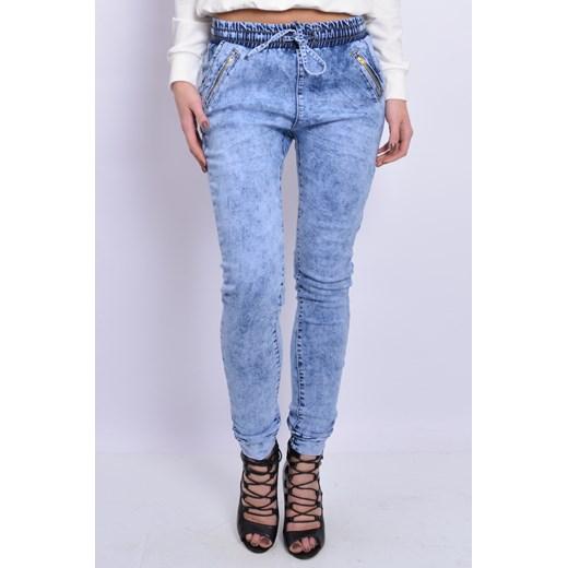 Spodnie jeansowe marmurki na gumie cocomoda pl niebieski