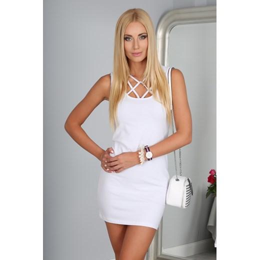 Sukienka Biała 3012 fasardi fioletowy fasardi.com Odzież Damska VV biały YOXM