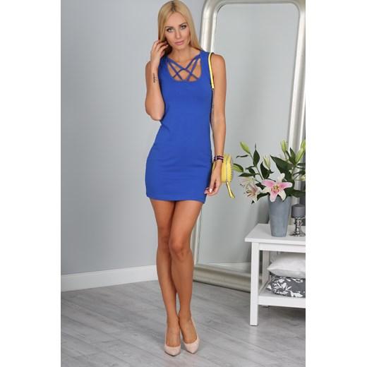 Sukienka z ozdobnym dekoltem chabrowa 3012 fasardi.com Odzież Damska UB niebieski DFQS