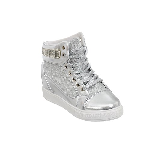 SNEAKERSY TRAMPKI KOTURN CYRKONIE BROKAT szary Family Shoes
