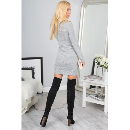 Jasnoszara Sukienka 9491 fasardi fasardi.com Odzież Damska LG szary KVMY