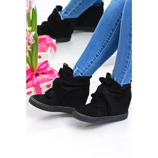 Damskie Czarne Sneakersy Na Koturnie Z Kokardą Adelaide