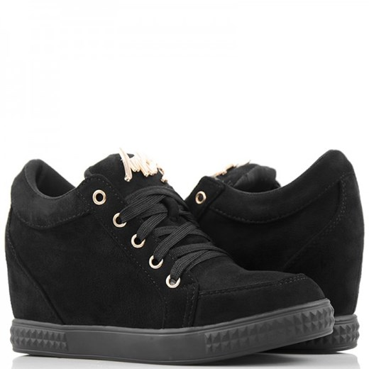 Modne Czarne Sneakersy Trampki na Koturnie Wilady