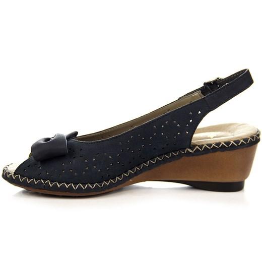Granatowe sandały skórzane z kokardą Rieker 66178 14 ButyRaj