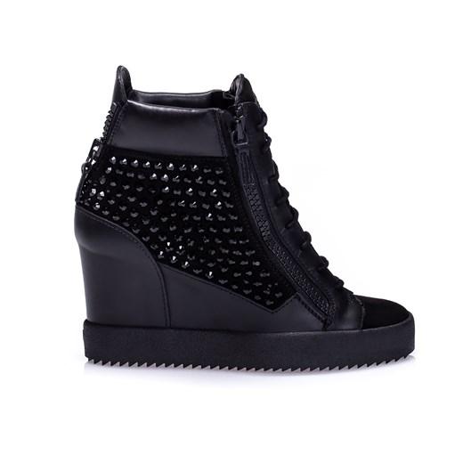 Czarne skórzane buty sportowe damskie na koturnie Giuseppe Zanotti viadellaspiga.pl