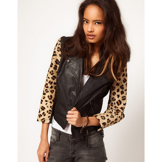Ramoneska Asos Leather With Leopard Panel  pandzior-pl-new-vogue  poliester