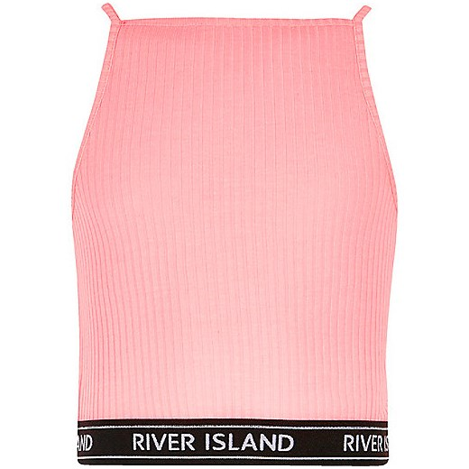 Girls pink ribbed 90s style crop top  River Island rozowy