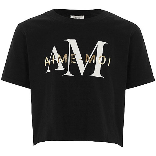 Girls black 'aime-moi' cropped T-shirt  czarny River Island