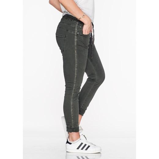 Włoskie jeansy MILANO 2 lampas khaki szary Lagattini.pl