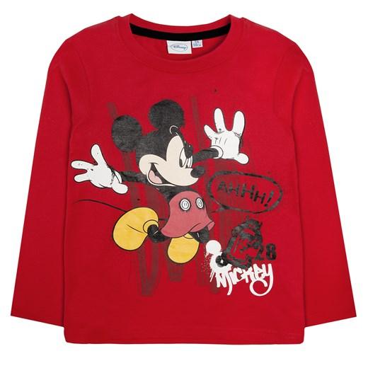 T shirt chłopięcy z długim rękawem, Myszka Miki pomaranczowy Odzież Licencyjna smyk