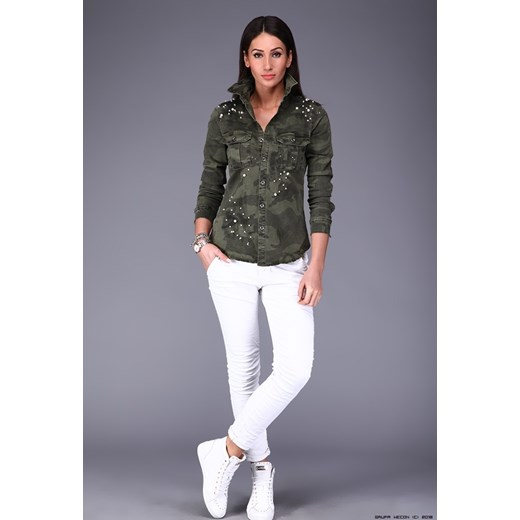 koszula damska made in italy ** jeansowa w moro + nitowane  cvn6M