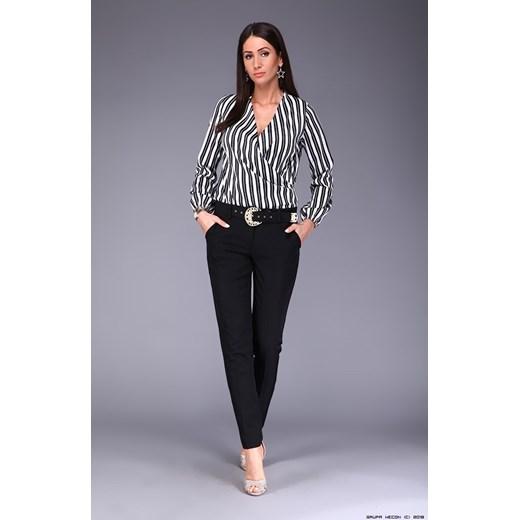 koszula damska rinascimento ** biało czarna w paski satynowa