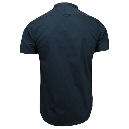 Koszula Męska na Stójce. Granat. Krótki Rękaw, BAWEŁNA  QWLd5