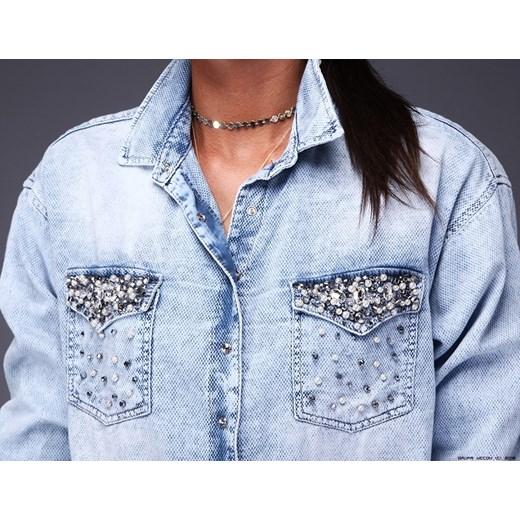 koszula damska d she ** jeanowe abito koszulowe+ kamienie+  6A3uI