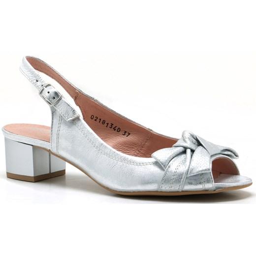 Sandały damskie Eksbut eleganckie srebrne na obcasie bez wzorów
