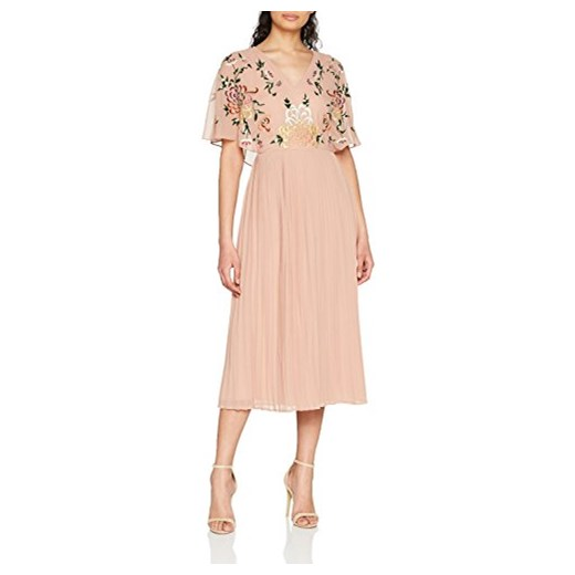 frock and Frill torebka damska sukienka na imprezę dell'arte) V-Neck Pleated Skirt Midi Dress -  Koktajl 42 rose