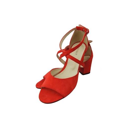 Obuwie Damskie Sandały Czerwone Skóra Zamszowa 111 ElitaBut