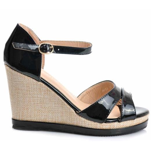 czarne sandały na koturnie id 56593