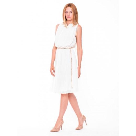 Plisowana sukienka midi L'AF BRITTANI L'af bialy Eye For Fashion Odzież Damska JQ biały XBFD