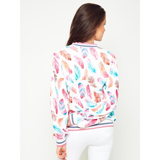 Bluza rozpinana kolorowe piórka biała Yups w Domodi